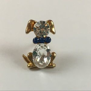 Small Blue Crystal Gold Tone Dog Puppy Lapel Pin